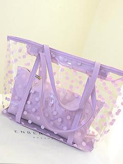 2014 New Item Euro Simplicity Women Fashion Solid Color Perspective Dot Printing Zipper Handbag