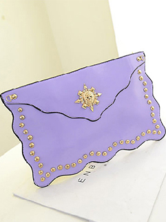 New Arrival Hot Selling Fashion Charming Candy Color Cover Rivets Soft Women Party Clutch Bag