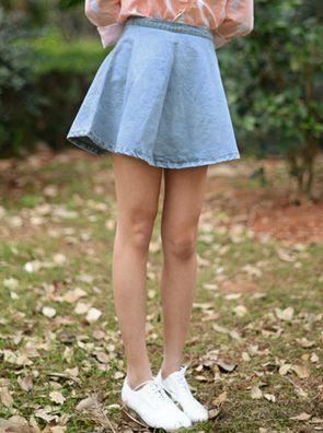 Retro 2014 Easy Match Solid Color High Waist Short Denim Blue Simple Skirt