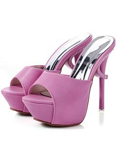 New Arrival 2014 Korea Summer Pretty Elegant Solid Color Peep Toe Super High Heel Platform Women Slipper
