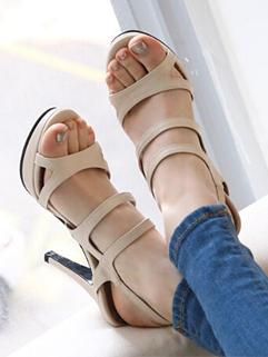 Korea 2014 Summer Latest Roman Style Pure Color Hollow Open Toe One-buckle Belt Thin Heel Platform Sandal
