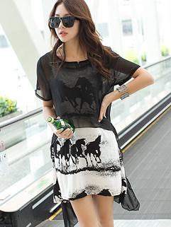 Korea 2014 New Arrival Fashion Loose Horse Printing Straps Black O-Neck Short Sleeve Chiffon Two Pieces Dress