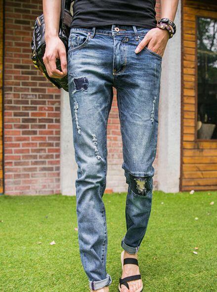 2014 Summer Hot Sale New Stylish Hole Skinny Pockets Long Applique Mid Waist Pockets Denim Pants