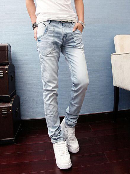 Korean Individual Design New Coming Skinny Pockets Long Mid Waist Pockets Denim Pants