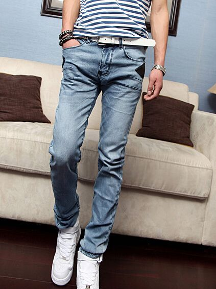 New Coming High Quality Durable Skinny Simple Design Solid Color Long Mid Waist Pockets Denim Pants