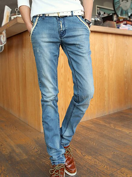 Korean 2014 Best Selling Individual Design Skinny Simple Design Young Long Mid Waist Pockets Denim Pants