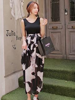 2014 Wholesale Star Fashion Street Style Round Collar Sleeveless Slim Looking  Color Block Chiffon Women Maxi Dress
