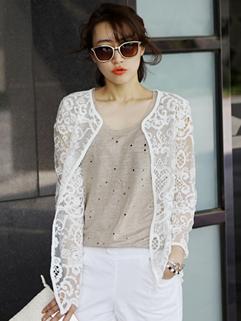 2014 Wholesale New Fashion Cardigan Elegant Versatile White Lace Hook Flower Long Sleeve Short Coat Casual Coat