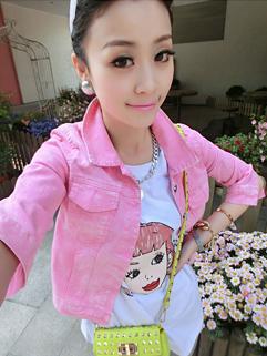 2014 Korea Fashion Candy Color Denim Coat Versatile 4 Colors Lapel Single-breasted Half Sleeve Women Short Coat