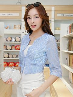 New Arrival 2014 Wholesale Blue Blazer Sweet Lace Hook Flower One Button Round Neck Half Sleeve Women Blazer