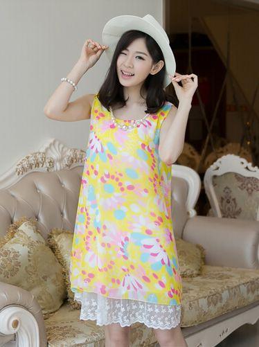 Chinese Wholesale Product Lace Matching Maternity Dress Floral Pattern Sleeveless Dress Loose Chiffon Beach Dress With N