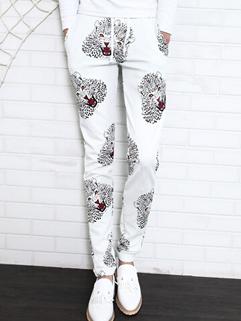Street Wear Pants Drawstring Pockets Long Skinny Pants Mid Waist Leopard Pattern Harem Casual White Pants M-3XL