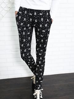 Hippie Pants Drawstring Pockets Long Skinny Pants Mid Waist Harem Skull Pattern Casual Black Pants M-3XL