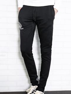 Corea Casual Pants Drawstring Pockets Letter Pattern Long Skinny Pants Mid Waist Casual Black Pants M-3XL