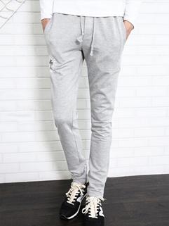 2014 Newest Prevalent Pants Drawstring Pockets Letter Pattern Long Skinny Pants Mid Waist Casual Gray Pants M-3XL