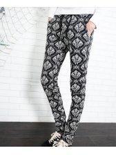 2014 Newest Novelty Pants Drawstring Pockets Allover Pattern Long Skinny Pants Mid Waist Casual Black Pants M-3XL