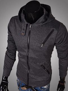 2014 Autumn Winter From China Men Coat Hoodie Color Block Leisure Sports Wear Zipper Up Long Sleeve Men Coat