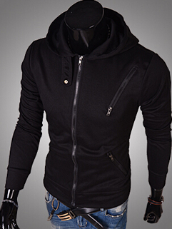 2014 Autumn Winter From China Men Coat Hoodie Color Block Leisure Sports Wear Zipper Up Long Sleeve Men Coat