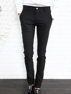 2014 Newest Popular Pants Polka Dot Zipper Up Low Waist Skinny Casual Black Pants 28-33