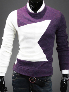 Korean Men Sweater O Neck Autumn Winter Item From China For Sale Color Block Star Pattern Fit Business Occasion Gentle