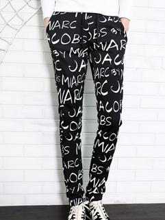 European Casual Pants Drawstring Allover Letter Pattern Long Skinny Pockets Pants Mid Waist Casual Black Pants M-3XL