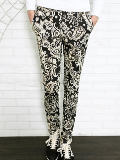 West Coast Pants Drawstring Pockets Bandanna Long Skinny Pants Mid Waist Casual Pants M-3XL