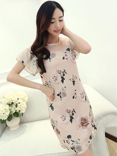 New 2014 European Fashion Chic Dress Pretty Cozy Chiffon Flower Printing Round Collar Short Sleeve Women Dress M-XL