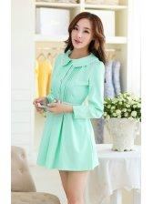 Sweet Girl Dress Solid Color Doll Collar Lace Matching Long Puff Sleeve Dress Mid Waist Light Green Dress With Belt