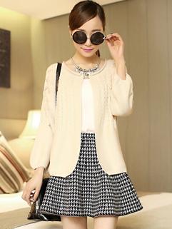 Korean Style Women Knitted Sweater New 2014 Cardigan Long Sleeve Work Street Wear Female Solid Color Coat
