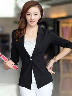 Korea Wholesale New Arrival OL Blazer Slim Chic Lace Splicing Solid Color Lapel One Button Three-quarter Sleeve Blazer