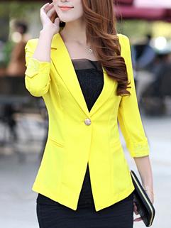 Korea OL Style New Coming Blazer Charming Slim One Button Lace Splicing Three-quarter Sleeve Lapel Pure Color Blazer