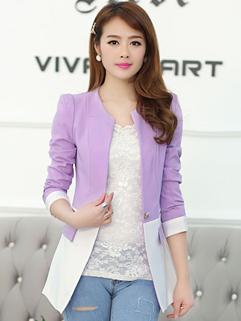 2014 Autumn Wholesale New Blazer For OL Slim Chic Color Matching V-Neck One Button Long Sleeve Versatile Blazer M-XXL