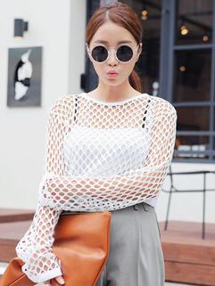 Wholesale 2014 Korea Exquisite T-Shirt Sexy Slim White Long Sleeve Gauze Hollow Round Collar Women Versatile T-Shirt