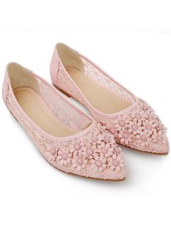 2014 Korean OL Flat Charming Style Floral Lace Low Cut Simple Design Leisure Wear Women Shoes 35-39