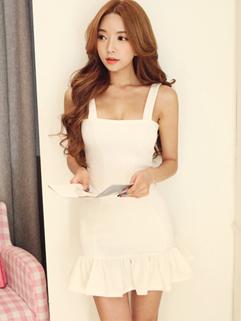 Hot Selling Korea 2014 Sexy Dress Bodycon Alluring Ruffles Wrap Sleeveless Strap Women Dress