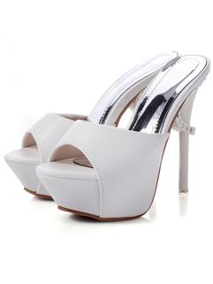 Excellent Quality 2014 Summer New Slipper Attractive Look Cozy Peep Toe High Heel Pure Color Platform Women Slipper