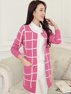 Korea Wholesale New Coming Coat Adorable Fashionable Long Sleeve Plaid Slim Versatile Women Long Coat