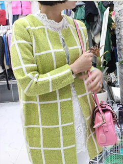 2014 Top Fashion Special Offer Women Coat Cheapest Durable Pure Color Long Sleeve Plaid Long Coat