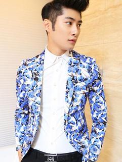 Newest Popular Coats Floral Long Sleeve Lapel Street Party Cotton Blue Coats M-XXL