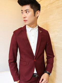 Mature Coats Pure Color Long Sleeve Lapel Party Cotton Wine Red Coats M-3XL