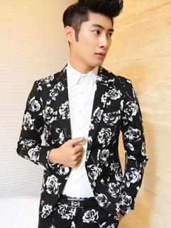 Popular Coats Floral Long Sleeve Lapel Party Button Cotton Black Coats M-XXL