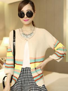 New Coming 2014 Autumn Women Coat Adorable Pretty Stripe Three-quarter Sleeve Casual Versatile Cotton Coat