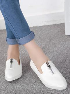 Wholesale New Arrival Women Flat Simplicity White Sharp Toe Zipper Women Casual Wear Flat 35-39