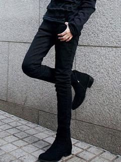 Korean Style Wholesale Jeans Slim Cut Mid Waist Long Fitted Men Black Jeans