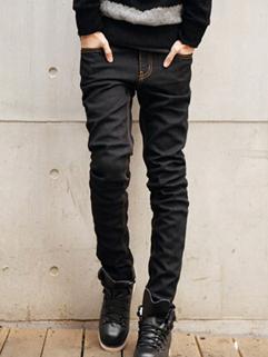 2014 Korean Wholesale Jeans Slim Cut Springy Mid Waist Long Fitted Men Jeans