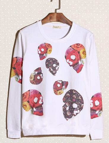 2014 New Wholesale Hoodies Color Block Skull Pattern Casual White Hoodies M-XXL