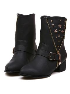 Size 35-39 Euro New Fashion Boot Sweet Individual Zipper Buckle-loop Rivets Sharp Toe Women Casual Wear Short Boot