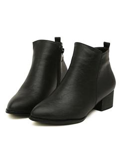 2014 British Style Women Boot Casual Comfortable Black Chunky Heel Sharp Toe Side Zipper Daily Street Wear Short Boot