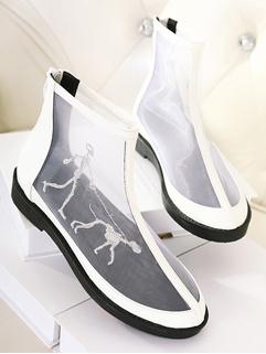 Korea 2014 Newest Design Flat Adorable Individual White Gauze Splicing Sharp Toe Back Zipper Daily Wear Flat 35-39