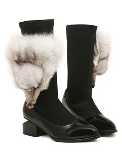 Hot Sale High Quality Women Boot Fashion Cute Fox Head Decorated Sharp Toe Chunky Heel Black Casual Short Boot